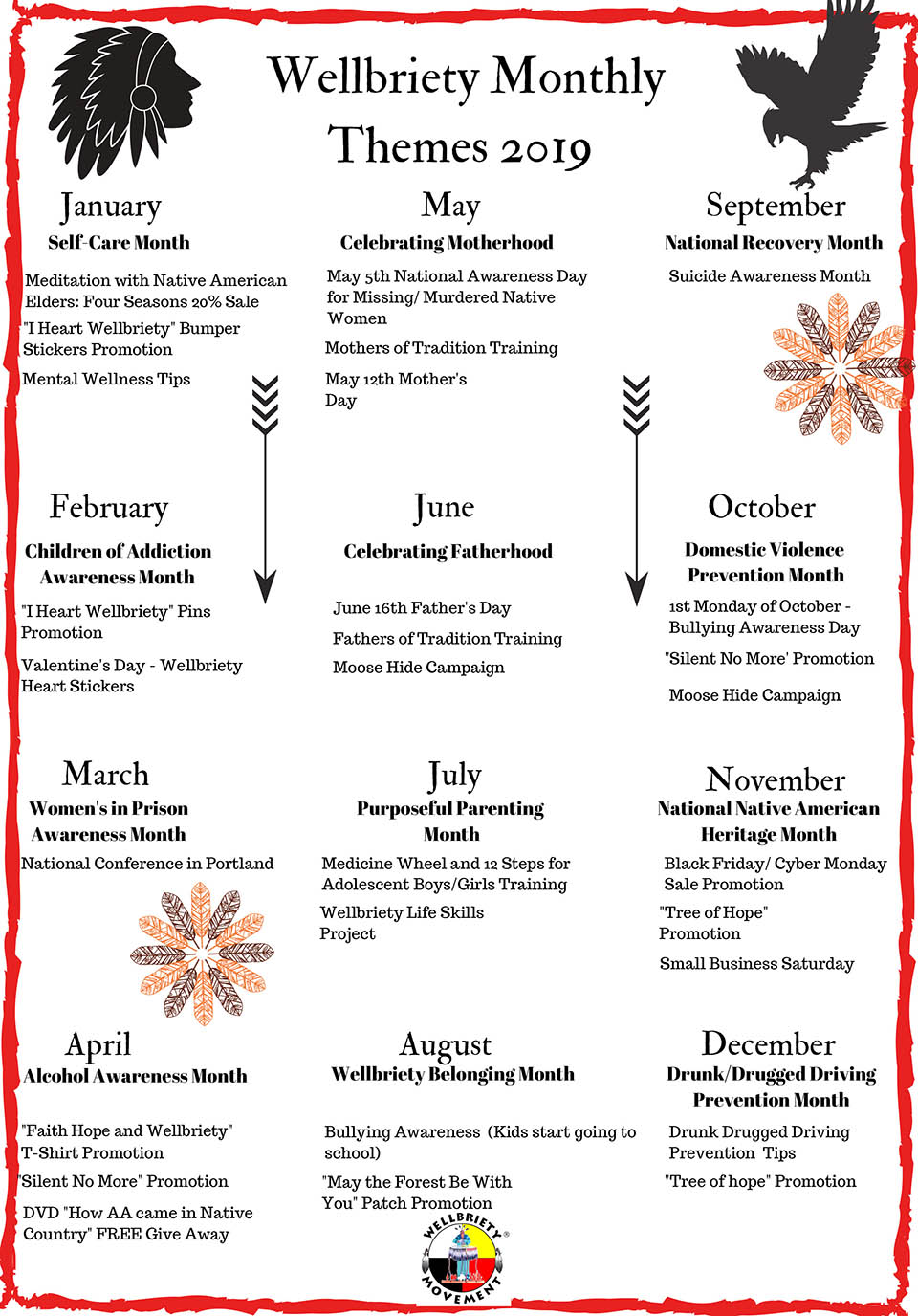 Monthly Awareness Calendar 2019 Monthly Themes 2019 Calendar